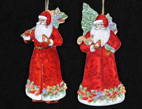 Hanging Wooden Forest Santa with Tree