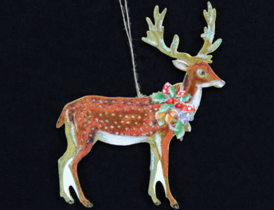 Hanging Wooden Forest Deer with Fruit Wreath