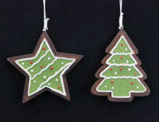 Wood Hanging Iced Cookie 10cm
