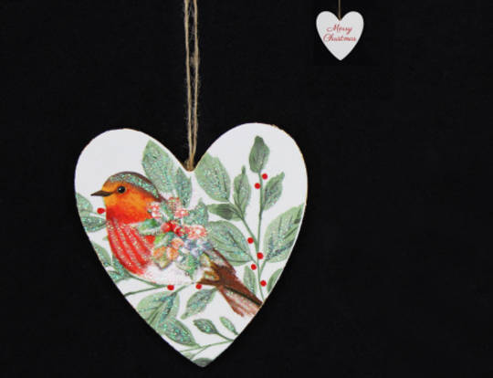 Hanging Wooden Forest Robin Heart