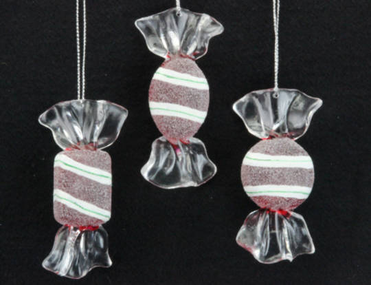 Acrylic Hanging Frosted Sweet 8cm