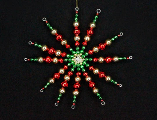 Hanging Beaded Starburst Red/Green/Gold