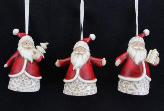 Ceramic Hanging Jolly Red & White Traditional Santa 9cm