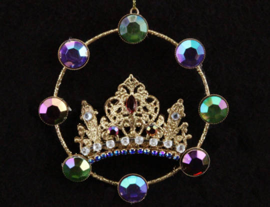 Hanging Wire Crown Disc with Multi Jewels