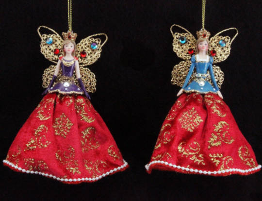 Hanging Regal Angel Jewelled/Fabric Sml
