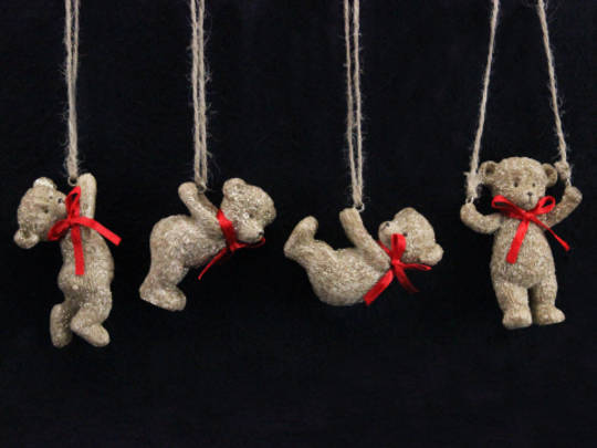 Hanging Resin Teddy with Red Bow