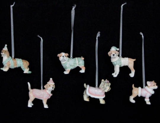 Hanging Resin Pastel Dressed Dog