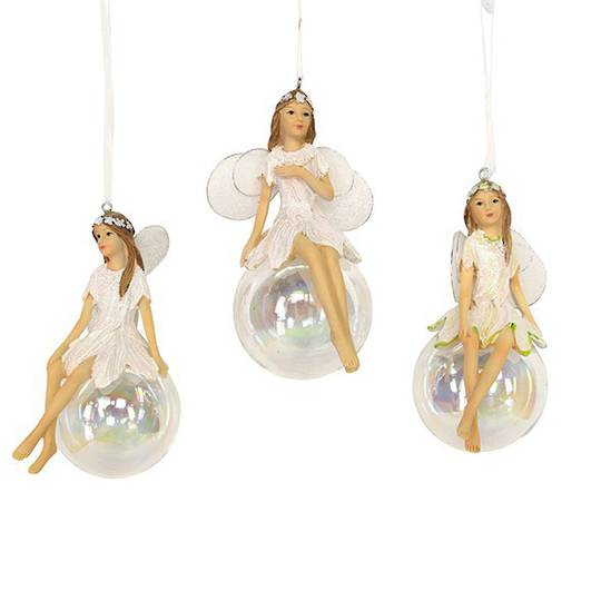 Hanging Resin Iridescent Fairy on Soap Bubble 11cm