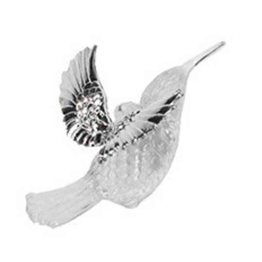 Hanging Clear and Silver Metal Hummingbird Sml