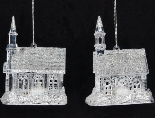 Hanging LED Church Clear/Silver Glitter