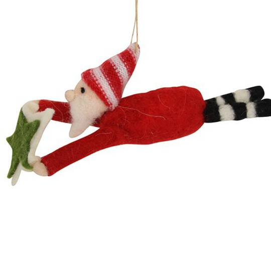 Hanging Eco Wool Flying Santa with Star