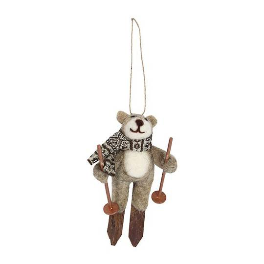 Hanging Eco Wool Teddy on Skis