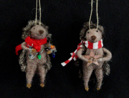 Hanging Eco Wool Hedgehog with Scarf