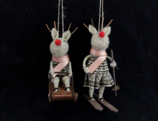Hanging Eco Wool Deer in Dress with Skis/Sledge