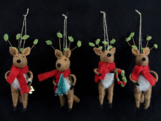 Hanging Eco Wool Deer with Red Scarf