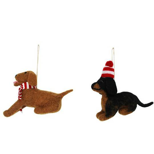 Hanging Eco Wool Puppy with Hat/Scarf