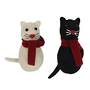 Hanging Eco Wool Cat with Scarf