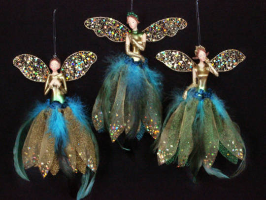 Hanging Resin Fairy Gold/Peacock Fabric/Feathers