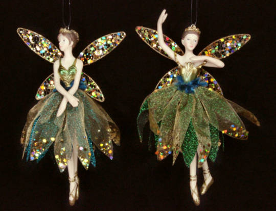 Hanging Resin Ballerina Fairy OldGold/Peacock Fabric