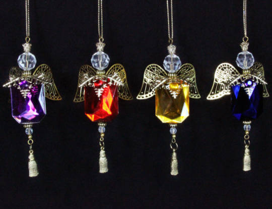 Hanging Coloured Jewel Angel with Metal Wings