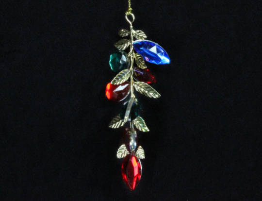 Hanging Multi Colour Jewel/Metal Leaf Drop