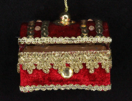 Hanging Red Velvet & Jewelled Treasure Chest