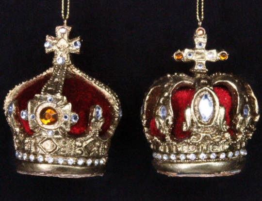 Hanging Resin Crown with Gold/Red Velvet and Jewels
