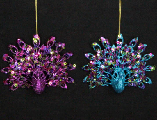 Hanging Fantail Peacock Purple/Blue Glitter