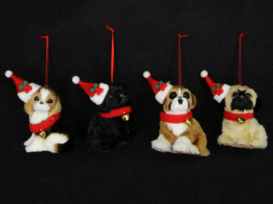 Hanging Fur Fabric Puppies with Santa Hats
