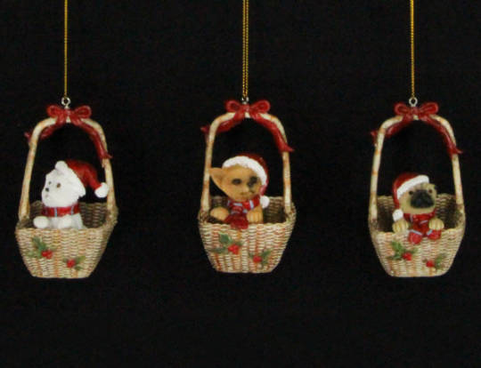 Hanging Resin Puppies in Basket