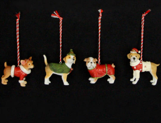 Hanging Resin Dogs with Coats
