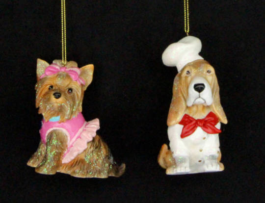 Hanging Resin Puppy Ballerina/Chef