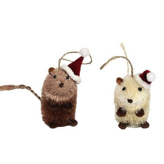 Hanging Bristle Mouse with Santa Hat