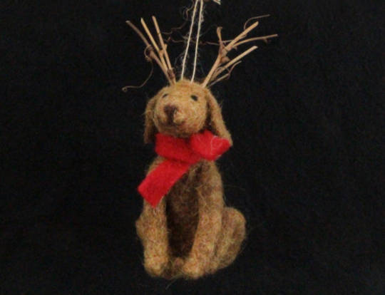Hanging Eco Wool Dog with Twig Antlers