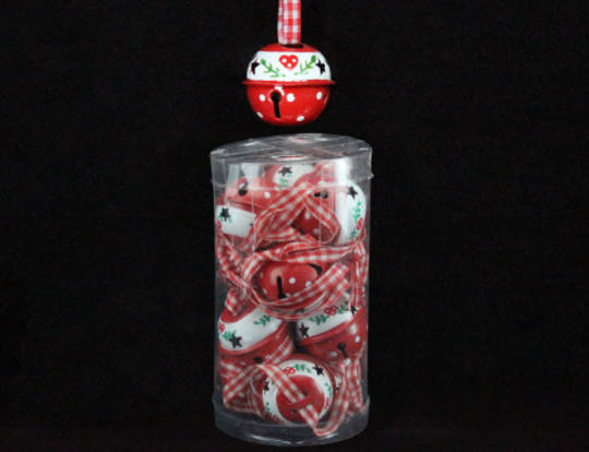 Hanging Metal Scandi Jingle Bells Sml Tube of 12