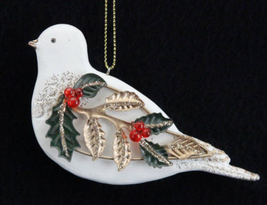 Hanging Resin Turtle Dove with Wire Wings