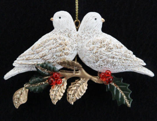 Hanging Resin Turtle Doves on Metal Leaf Branch