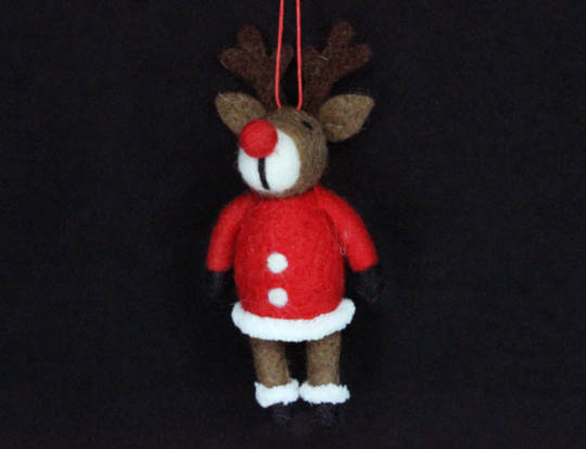 Hanging Eco Wool Reindeer with Santa Coat