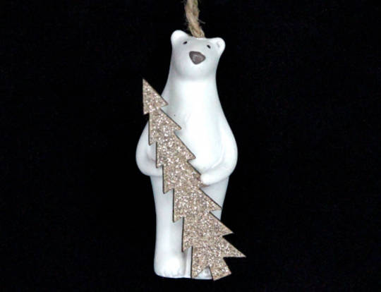 Hanging Resin White Polar Bear with Gold Wood Tree