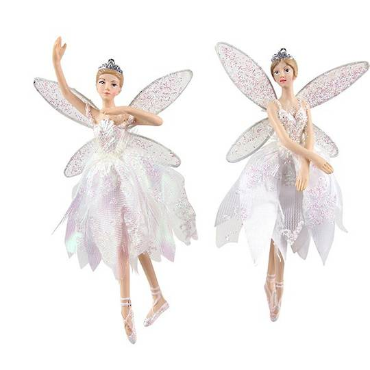 Hanging Resin Fairy with Sheer Iridescent Dress 17cm