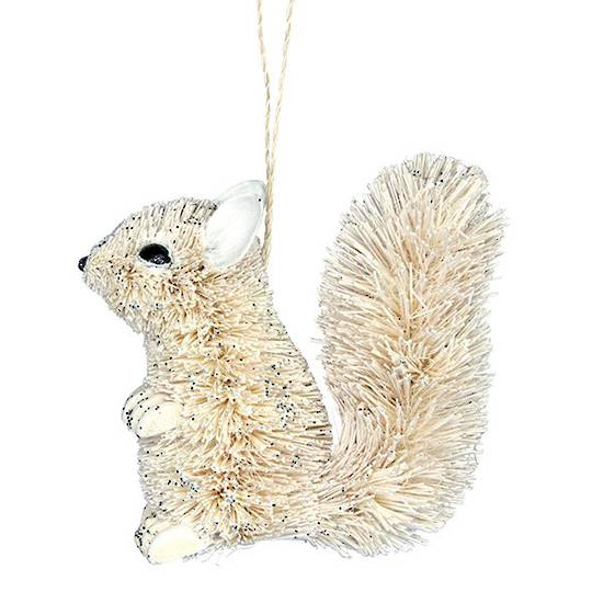Hanging White Bristle Squirrel 10cm