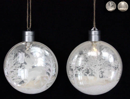 Hanging Glass Disc with Snow Scene LED.