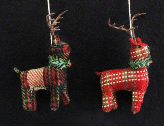 Hanging Plaid Fabric Reindeer