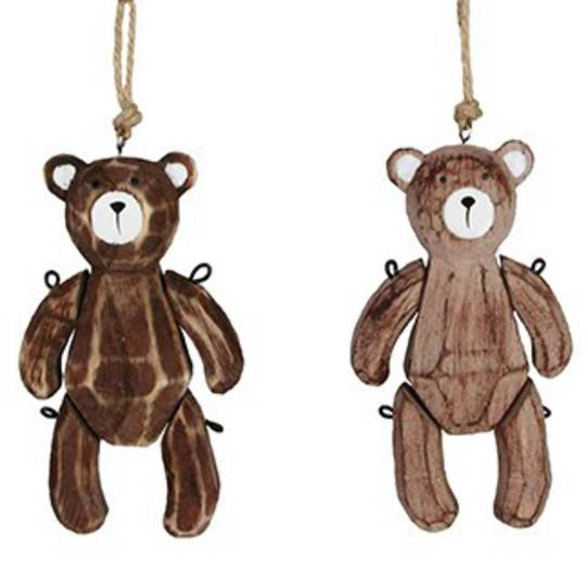 Hanging Natural Wood Jointed Teddy