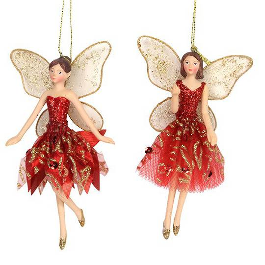 Hanging Resin Fairy with Red/Gold Fabric Dress 14cm