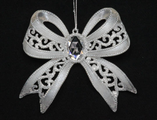 Pearly White Bow  w/ Diamante 11 cm