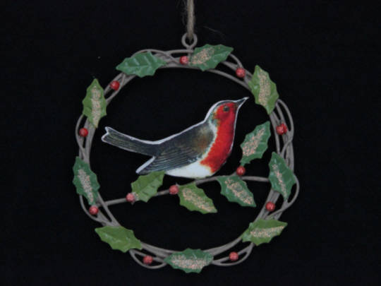 Decoupage Wooden Robin in Metal Wreath 10cm