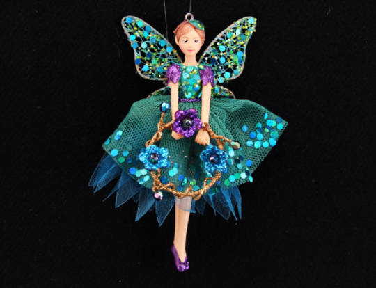 Resin Peacock Coloured Fairy with Flower Wreath