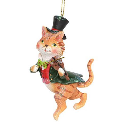 Resin Cat and a Fiddle 12cm