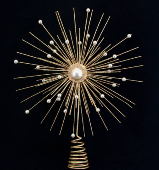 Gold Pearl Star Tree Topper 30cm